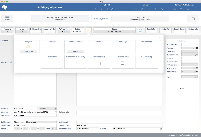 advanter 5.0 Auftragsfreigabe