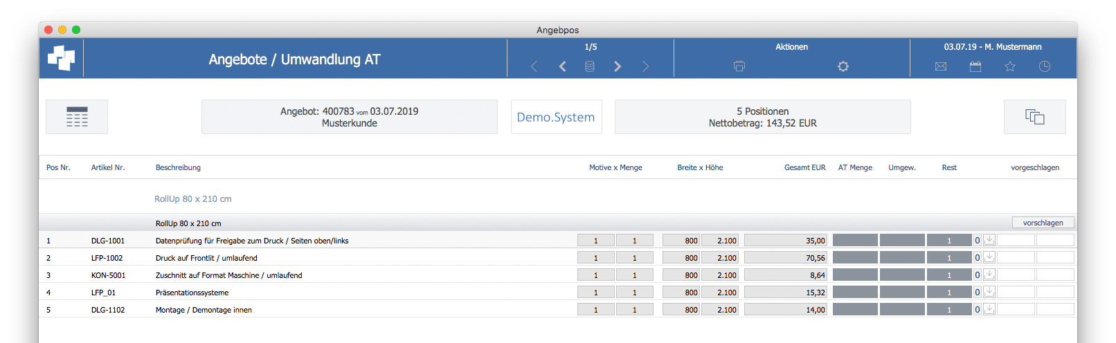 advanter 5.0 Angebot / Positionsliste