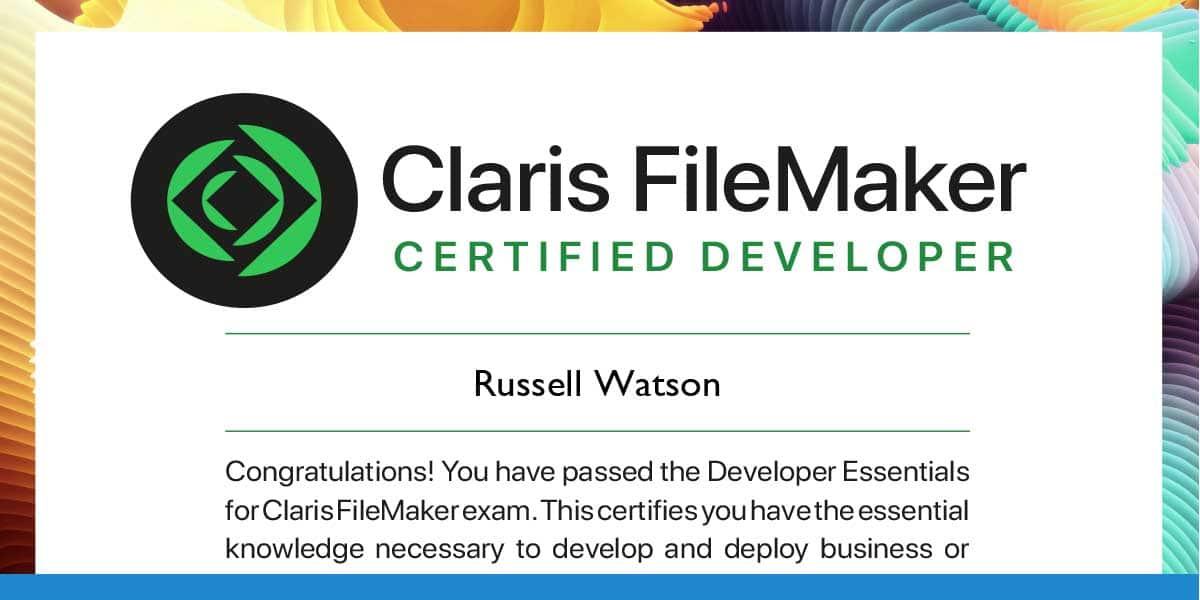 Russell Watson erneut ausgezeichnet: Claris FileMaker Certified Developer